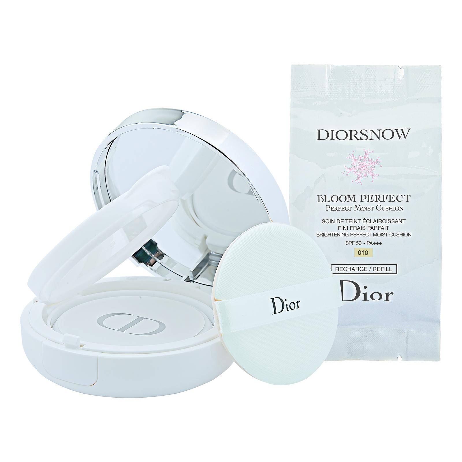 Christian Dior DiorSnow Bloom Perfect Brightening Perfect Moist Cushion SPF50- PA+++ 010, 2 x 15 g,