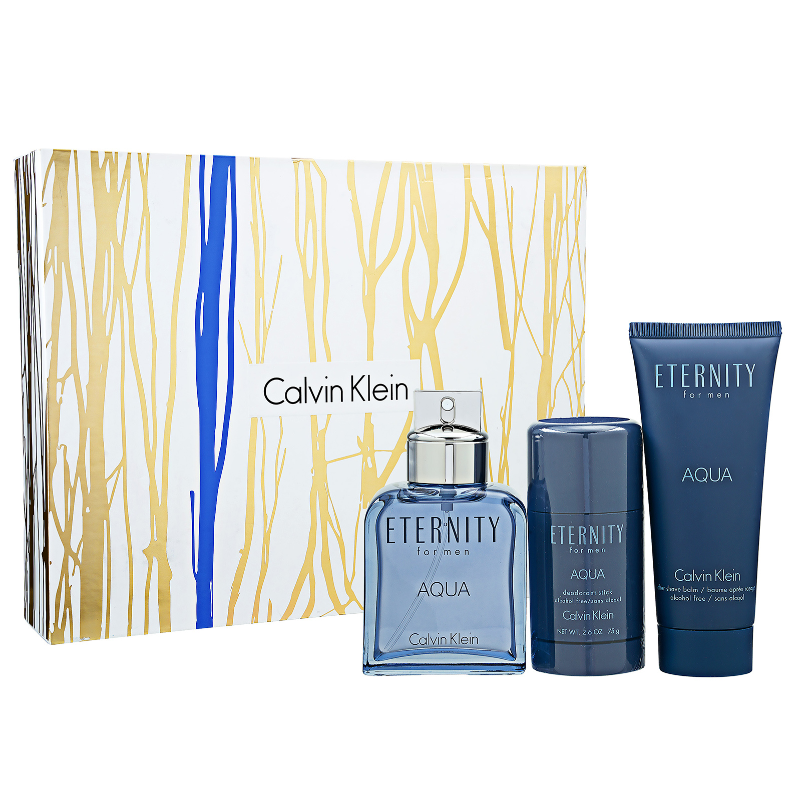 Calvin Klein Eternity For Men Aqua EDT 3-Piece Set 1set, 3pcs 3.4oz Spray Aftershave Deodorant