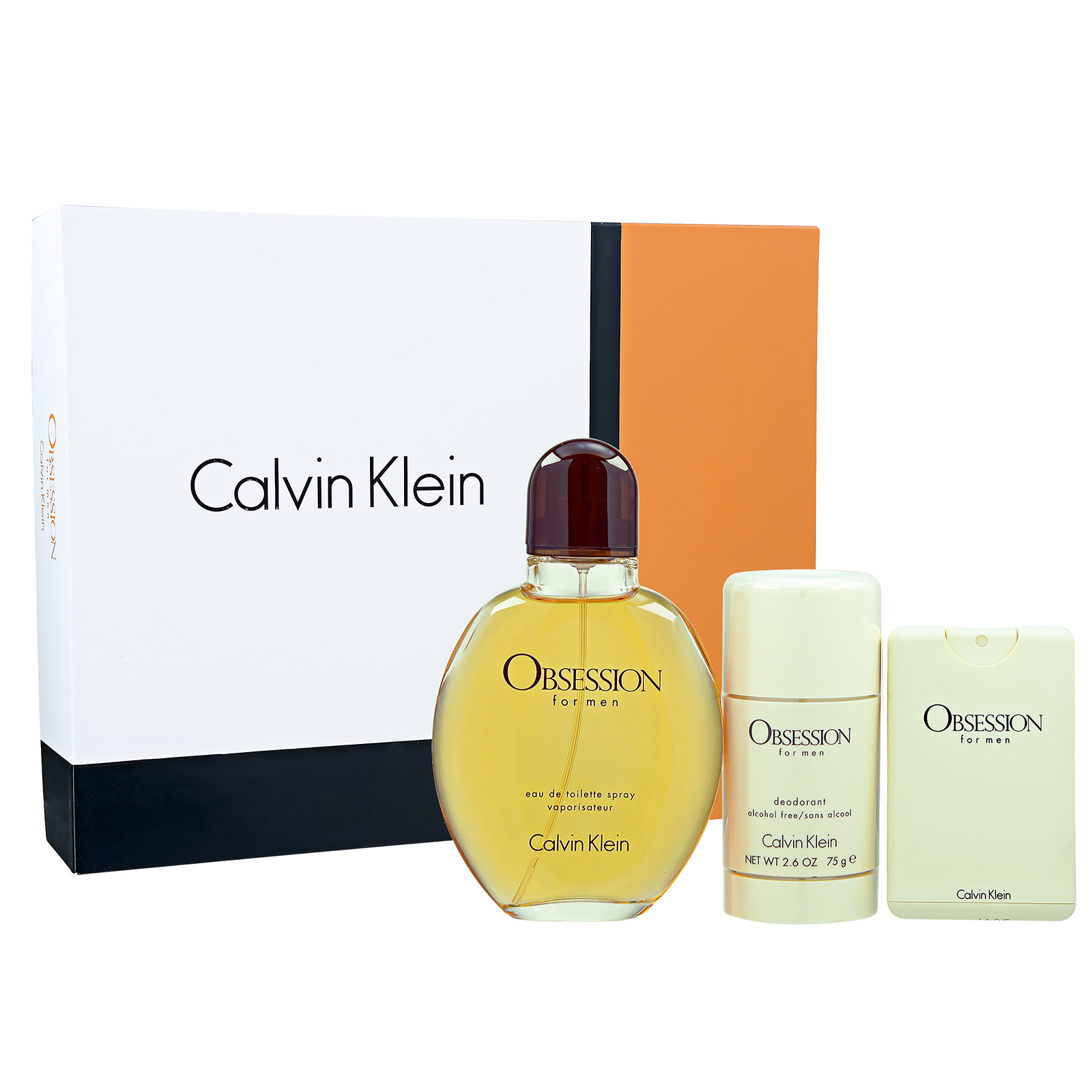 Calvin Klein Obsession For Men EDT 3-Piece Set 1set, 3pcs 125ml 4oz Spray Deodorant