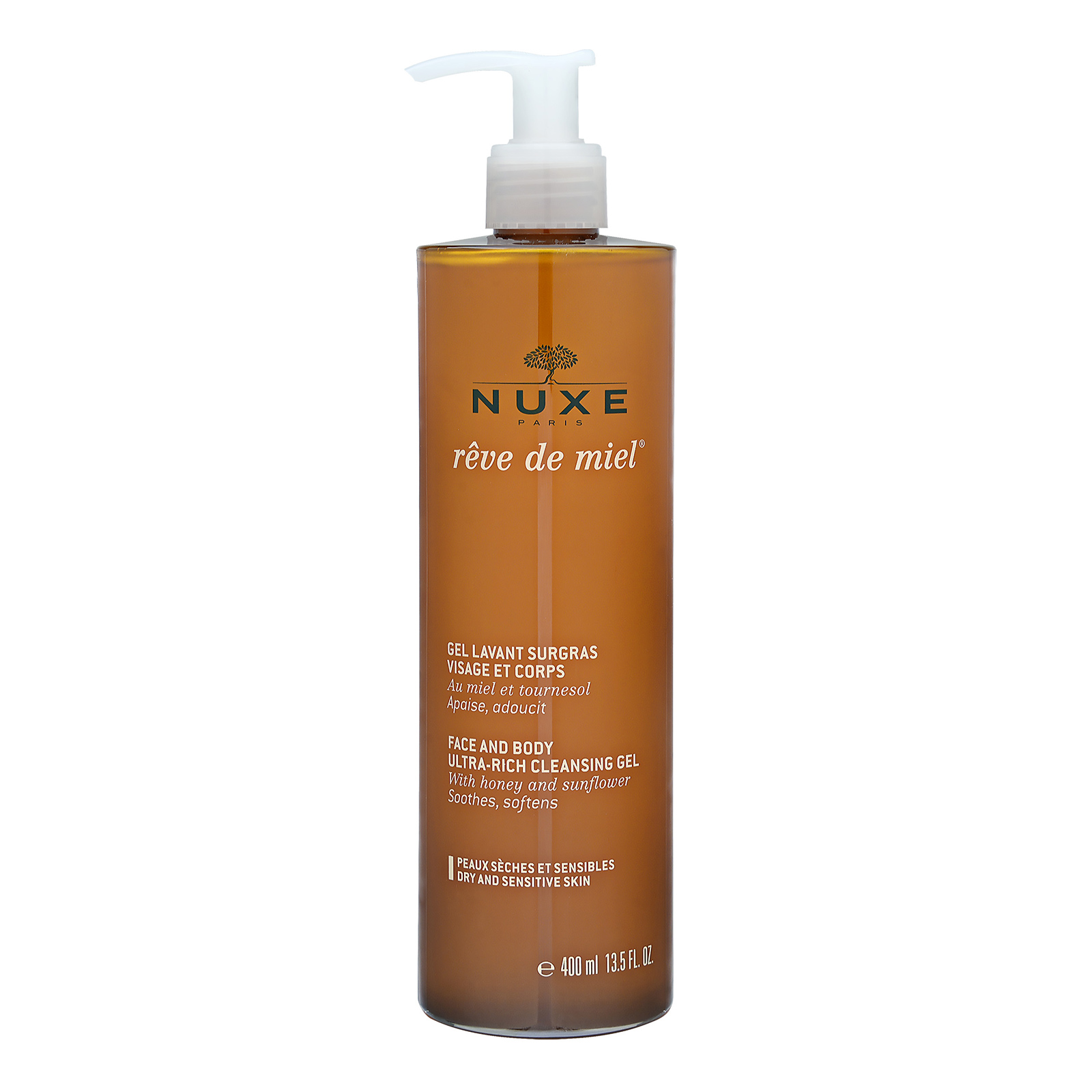 NUXE Rêve de Miel Face and Body Ultra-Rich Cleansing Gel (Dry and Sensitive Skin) 13.5oz, 400ml