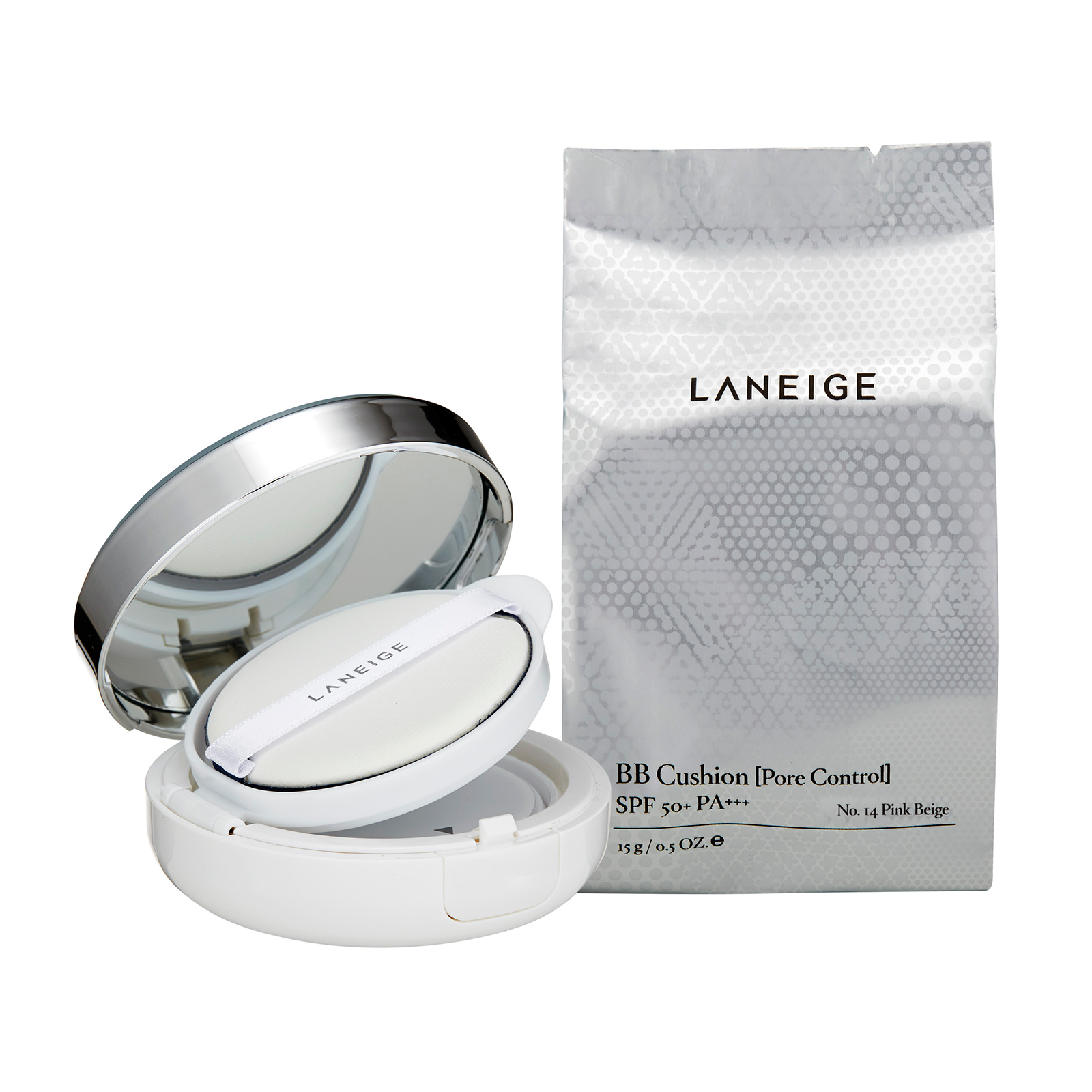Laneige  BB Cushion [Pore Control] SPF50+ / PA+++ No.14 Pink Beige, 2 x 0.5oz, 2 x 15g