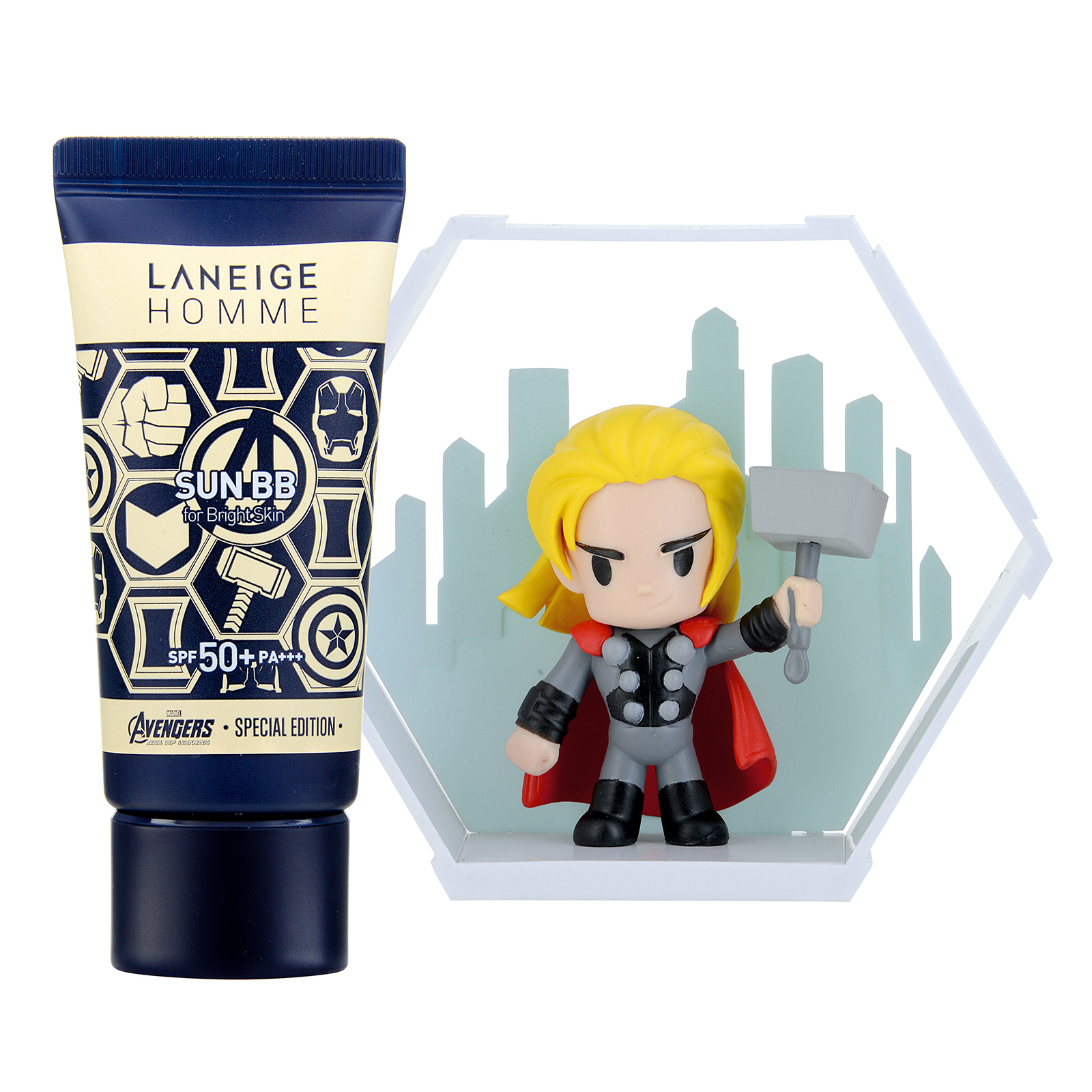 Laneige Homme Homme Sun BB SPF50+ / PA+++ Set with Thor Figure (For Bright Skin) 1set, 2pcs