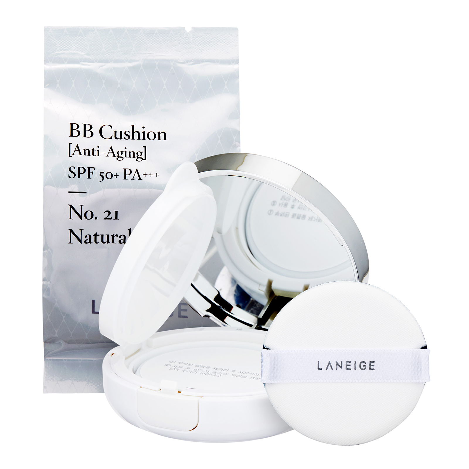 Laneige  BB Cushion [Anti-Aging] SPF50+ / PA+++ No. 21 Natural Beige, 2 x 0.5 oz , 2 x 15g