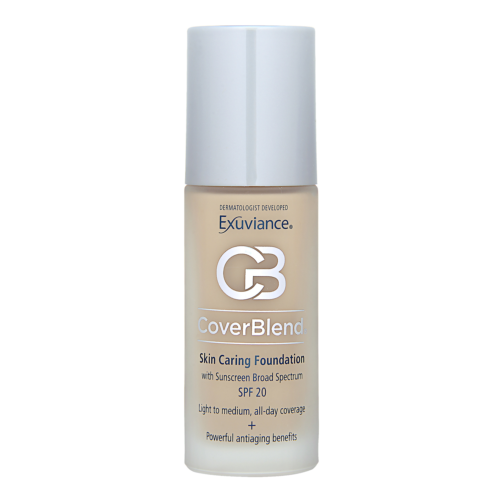 Exuviance Cover Blend  Skin Caring Foundation with Sunscreen Broad Spectrum SPF20 True Beige, 1oz, 30ml