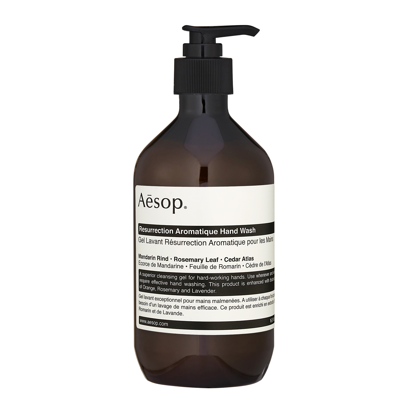 Aesop Resurrection Aromatique Hand Wash has the following features:A superior cleansing gel for hard-working hands. This globally adored product gently cleanses without dehydrating skin. Ideal for labour-wearied hands that are frequently washed.