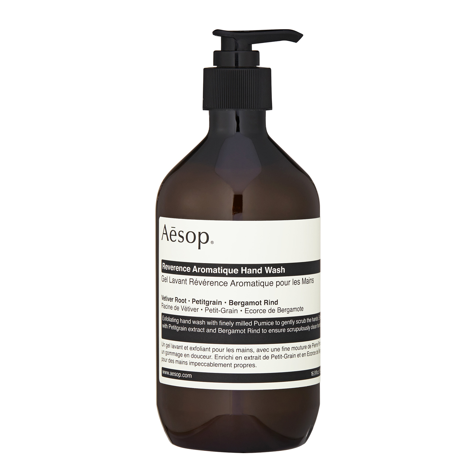 Aesop Reverence Aromatique Hand Wash has the following features:An exfoliating hand wash with finely milled Pumice to gently scrub hard working hands. Enhanced with Petitgrain extract and Bergamot Rind to purify skin and ensure a clean and clear finish. Providing an amazing cleansing and intense hydrating experience.