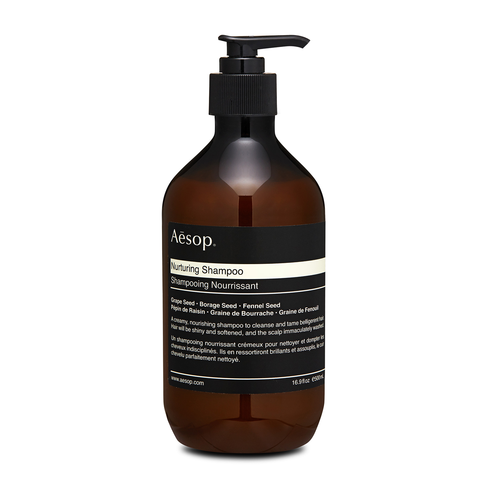 Aesop Nurturing Shampoo has the following features: Cleanses dry or damaged hair and leaves it glossy, moisturized and softened with a creamy foundation. Nourishes and tames belligerent hair without drying hair shafts or aggravating the scalp.Especially suited to dry or chemically treated hair. Also ideal for stressed or belligerent hair. Formulated with extracts of grape seed, borage seed and fennel seed to protects and nourishes your hair. Helps you to have a smooth, soft and shine hair.