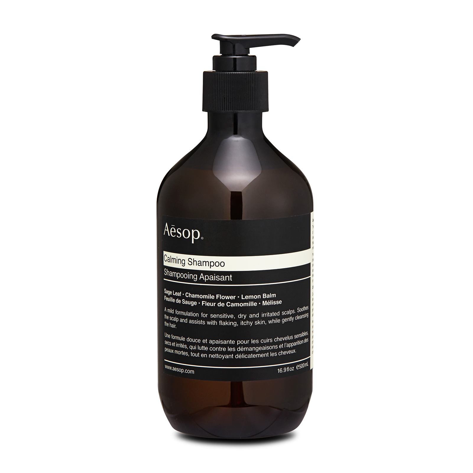 Aesop Calming Shampoo has the following feaetures: Formulated with a gentle blend of botanically based ingredients targets flaking, itchy scalps to assuage irritation while effectively cleansing hair. The ideal shampoo for those with sensitive scalps prone to irritation.  Without the inclusion of ingredients  that traditionally cause irritation. The scalp will be calmed and refreshed. Also reduces irritation and balances sensitive scalps. Contains sage leaf extracts to provide a efficient treatment of hair loss by stimulating hair growth. It can also make your hair manageable and improve its texture, giving you a shiny, soft and healthy hair.