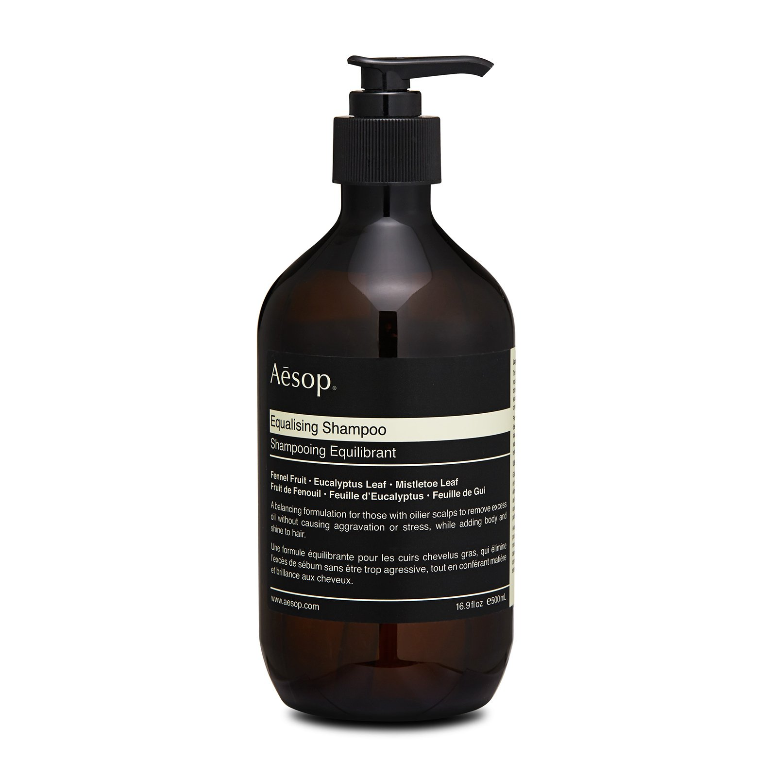Aesop Equalising Shampoo has the following features: Gently astringent botanicals absorb excess oil without irritating or aggravating the scalp, simultaneously delivering body and shine to hair. Leaves your scalp completely cleansed, and hair will be softened and refreshed.Contains a blend of cleansing and nourishing botanical extracts, including Fennel Fruit, to wash away excess oil without stripping scalp. Formulated with eucalyptus leaf to promote blood vessel constriction. Hence promotes follicle stimulation and hair development. Improves shine, thickness and overall health.