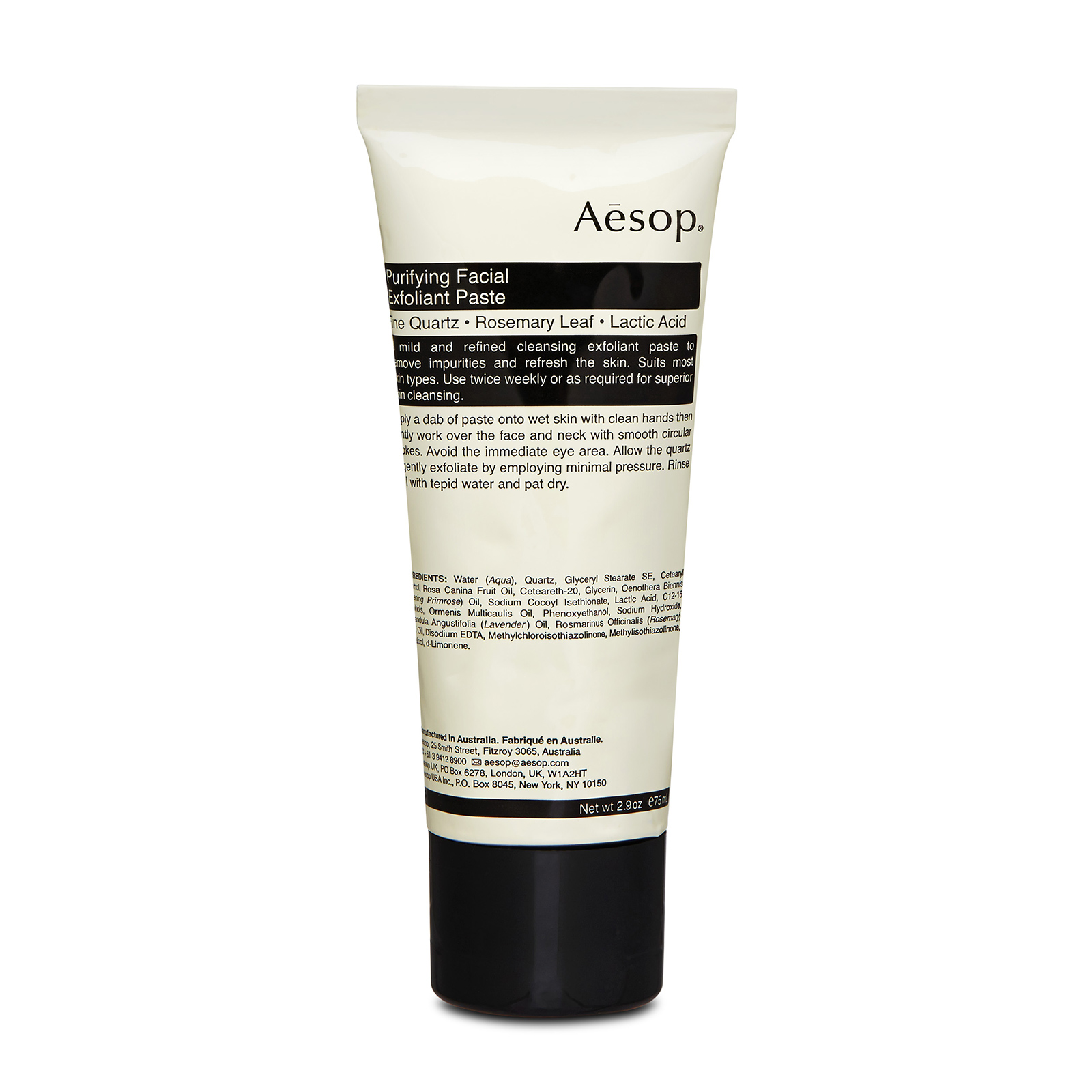 Aesop Purifying Facial Exfoliant Paste has the following features: Fine river-bed Quartz contained in a cream base sloughs away tired surface cells.Lactic Acid offers a mild chemical exfoliation to leave skin immaculately cleansed, soft and polished.