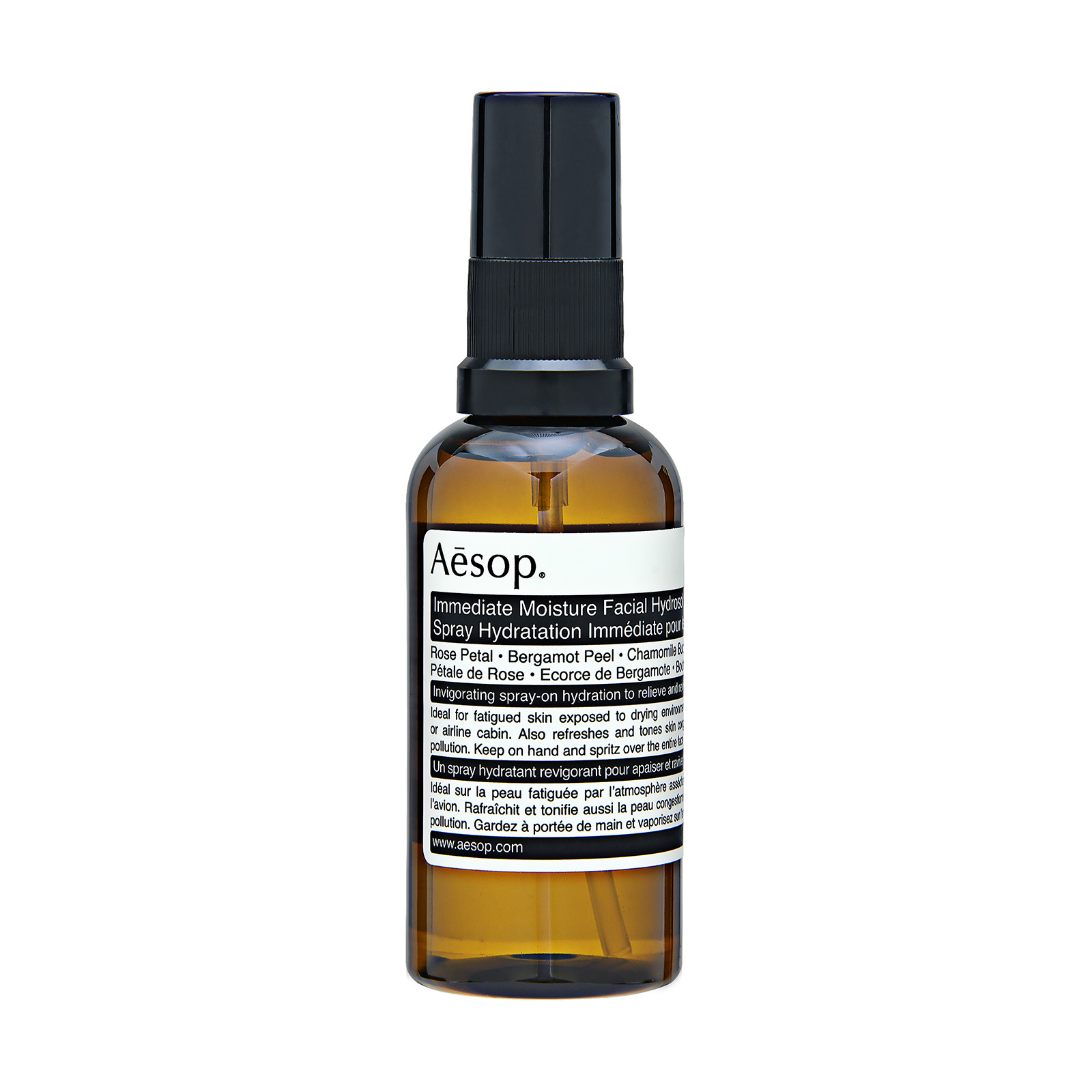 Aesop Immediate Moisture Facial Hydrosol has the following features:A refreshing, aromatic, spray-on hydration for all skin types. A rose petal-infused spritzing hydrator to refresh and revive skin and mind.  Ideal for those journeying long-distance and those who spend exhausting hours at their desks craving sensory stimulation.