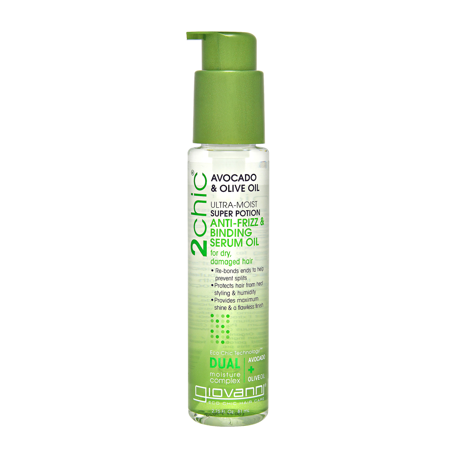 Giovanni 2chic Ultra-Moist Avocado & Olive Oil Super Potion Anti-Frizz Binding Serum (For Dry And Damaged Hair) 1.8oz, 53ml
