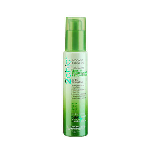 Giovanni 2chic Ultra-Moist Avocado & Olive Oil Leave-In Conditioning and Styling Elixir (For Dry And Damaged Hair) 4oz, 118ml