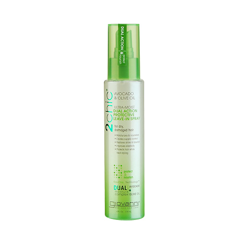 Giovanni 2chic Ultra-Moist Avocado & Olive Oil Dual Action Protective Leave-In Spray (For Dry And Damaged Hair) 4oz, 118ml