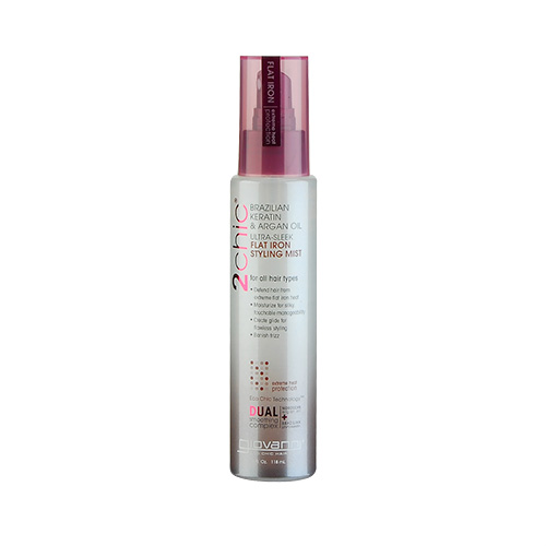 Giovanni 2chic Ultra-Sleek Brazilian Keratin & Argan Oil Flat Iron Styling Mist (For All Hair Types) 4oz, 118ml