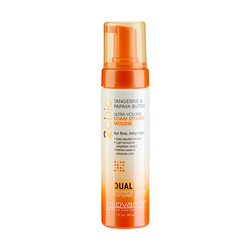 Giovanni 2chic Ultra Volume Tangerine & Papaya Butter Foam Styling Mousse (For Fine And Limp Hair) 7oz, 207ml