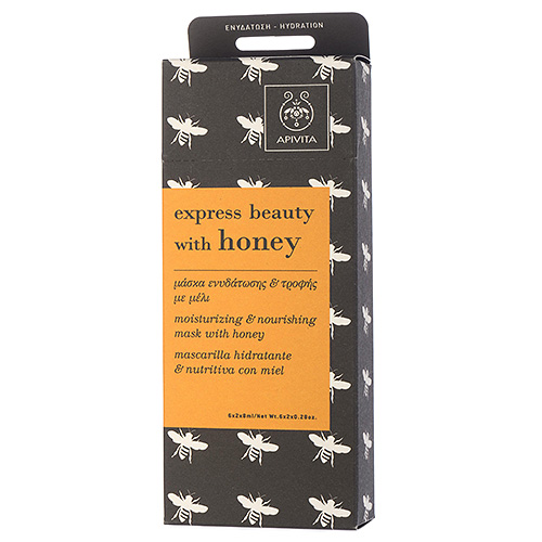 APIVITA Express Beauty  Moisturizing and Nourishing Mask with Honey 6 x 2 x 0.28oz, 6 x 2 x 8ml