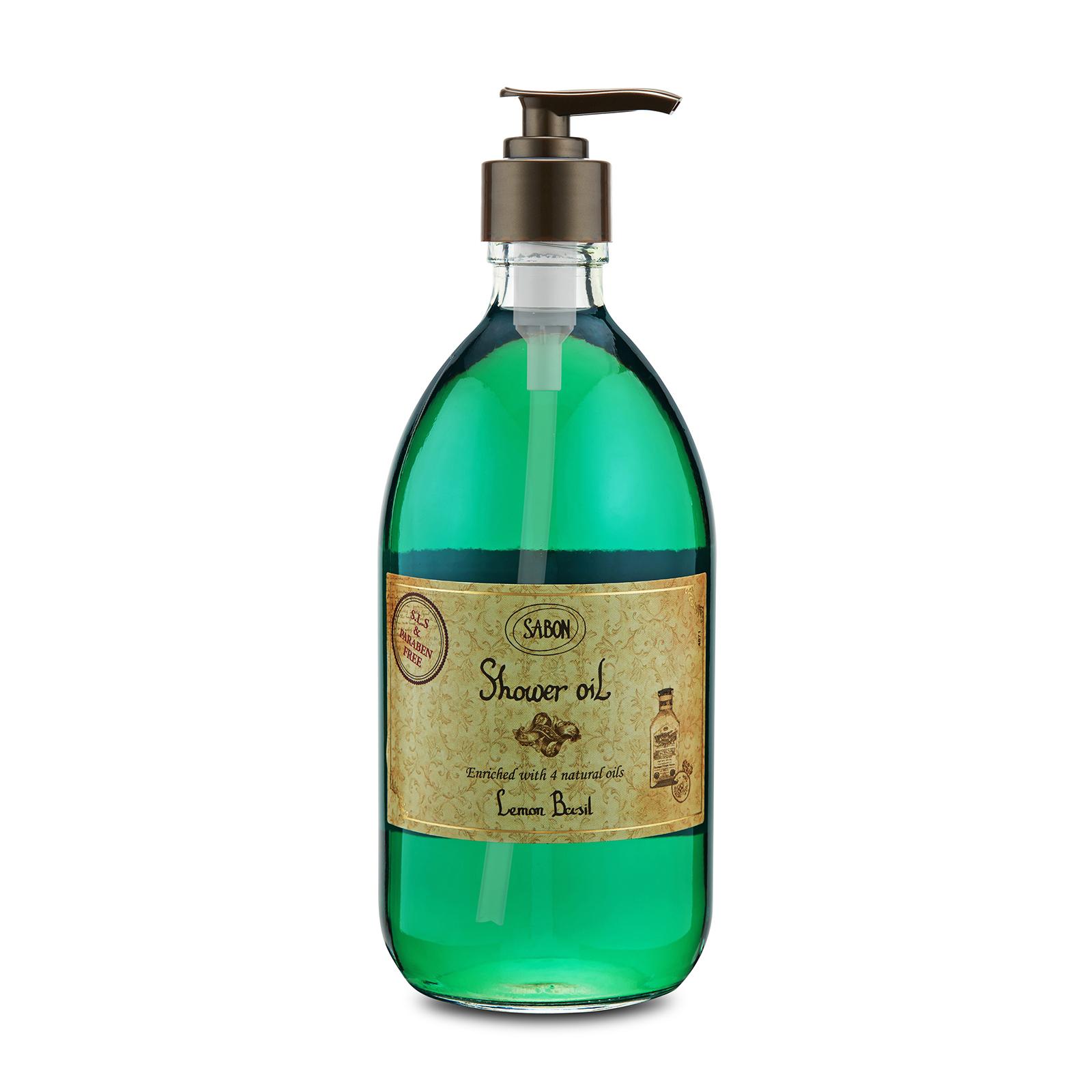 Sabon  Shower Oil Lemon Basil, 17.59oz, 500ml