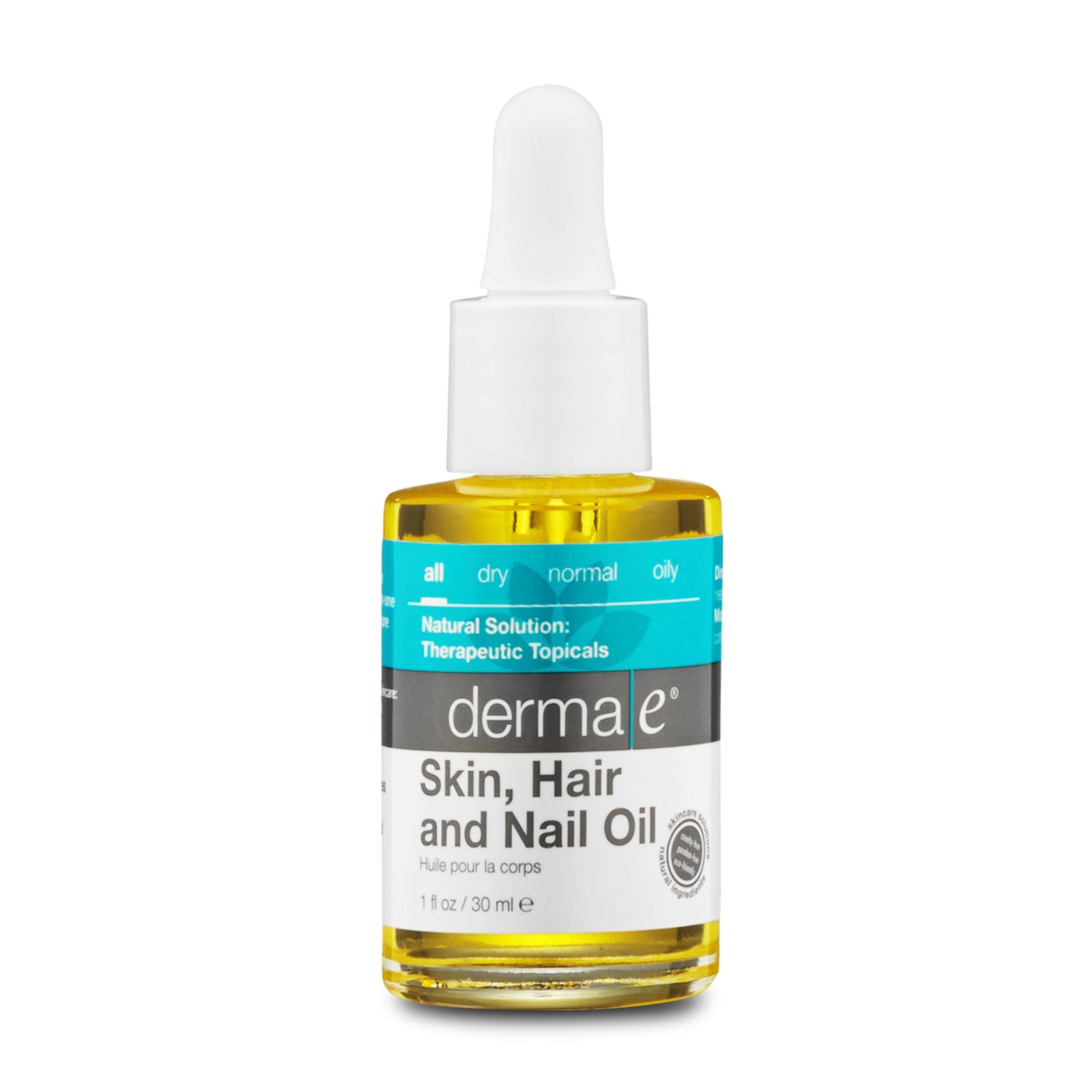Derma e Therapeutic Topicals Skin, Hair and Nail Oil With Organic Argan, Jojoba and Kukui Oils 1oz, 30ml